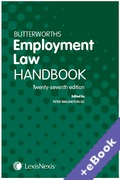 Cover of Butterworths Employment Law Handbook 2019 (Book & eBook Pack)