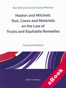 Cover of Hayton and Mitchell: Text, Cases and Materials on the Law of Trusts and Equitable Remedies (eBook)